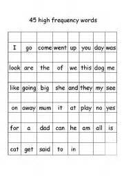 english teaching worksheets high frequency words