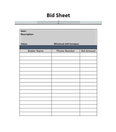 40 Silent Auction Bid Sheet Templates Word Excel Template Lab Bid Form Template Free