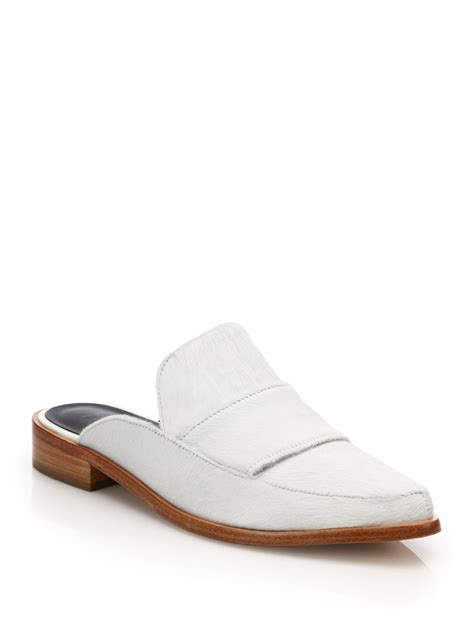 mule loafers tibi denni calf hair mule loafers in white lyst