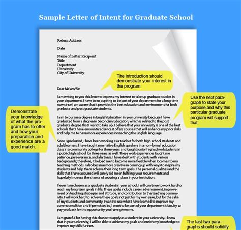 Letter Of Intent Of Toronto Letter Of Application Letter Of Intent Graduate School Toronto