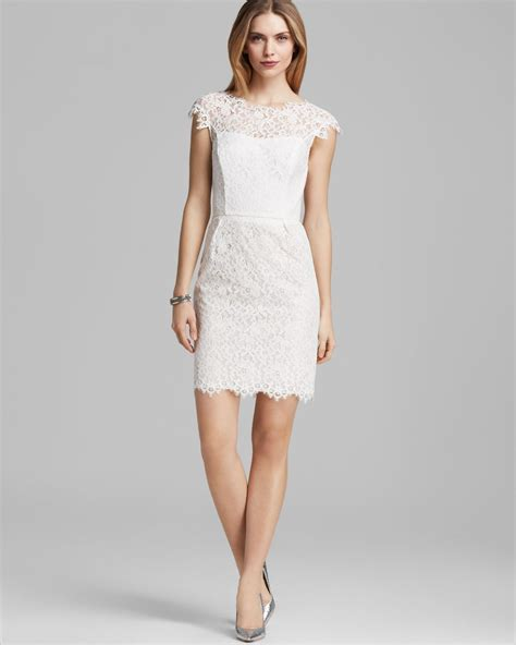 White Lace Sleeved Dress shoshanna dress cap sleeve lace in white ivory lyst
