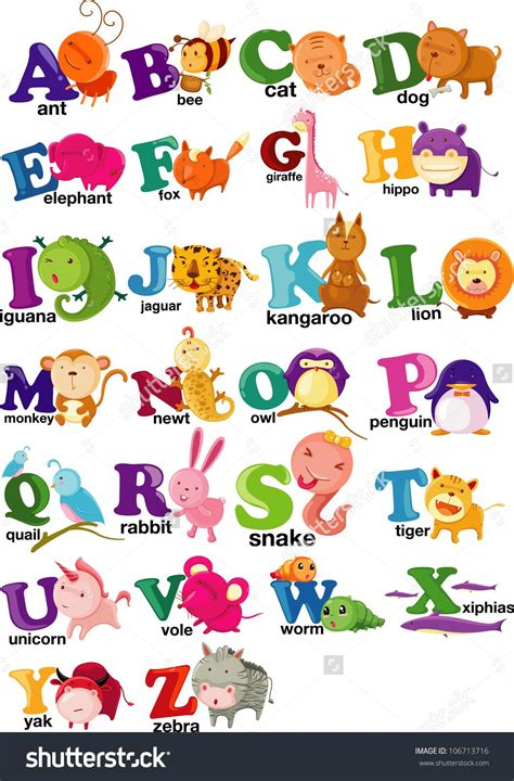 animal alphabet stock vector stock vector animal alphabet letter a z 106713716 jpg