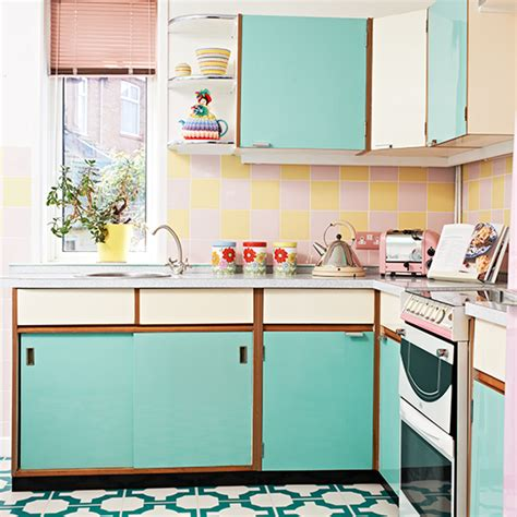 retro kitchen design ideas retro kitchen with vinyl floor and turquoise cabinetry