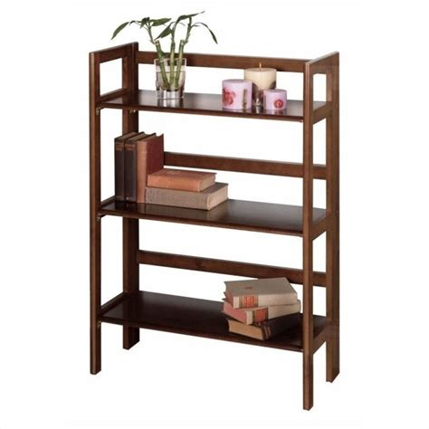 winsome 3 tier folding shelf antique walnut bookcase