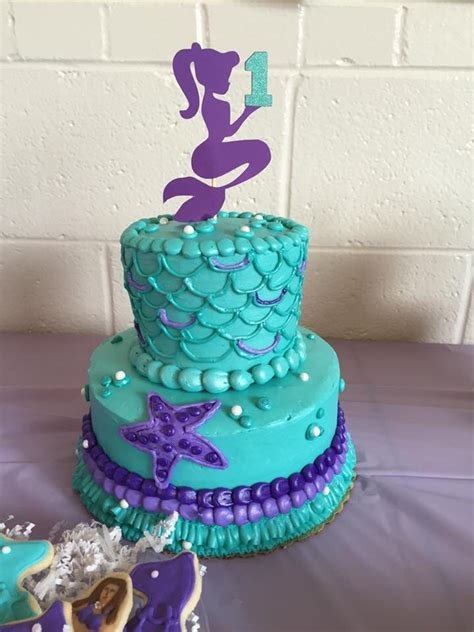 First birthday mermaid theme cake   Our Mermaid First
