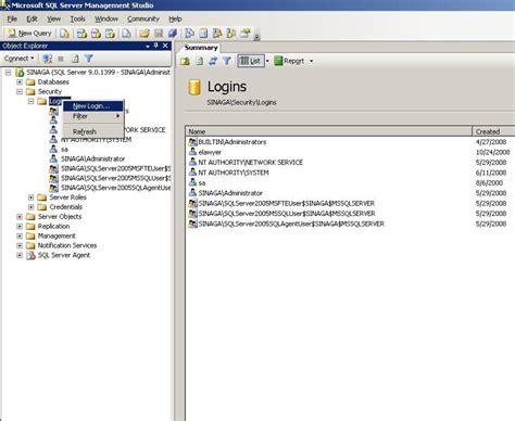cara membuat query pada sql server 2005 cara membuat user baru dalam sql server 2005 171 roni sinaga