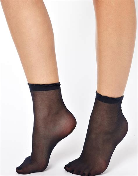 Asos Sheer Frill Ankle Socks in Black   Lyst