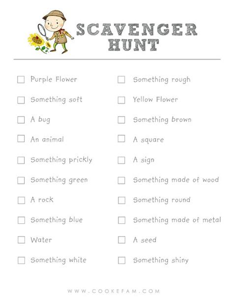 scavenger hunt checklist template 6 best images of printable scavenger hunt template