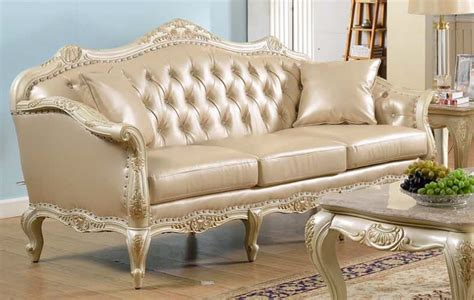 traditional antique white formal sofa set with nail
