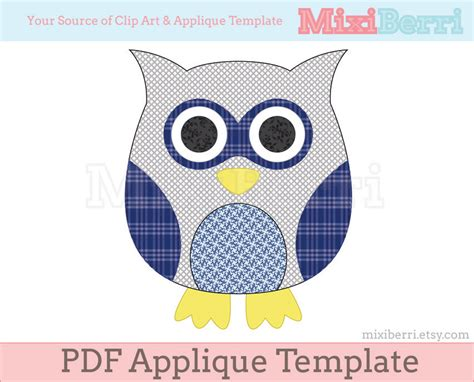 applique template blue owl applique template pdf applique pattern instant