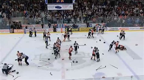 hockey bench clearing brawls armada drakkar playoff series getting ugly sportsnet ca