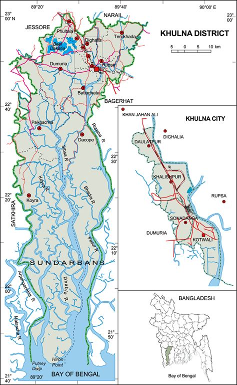 map of khulna city district map of bangladesh