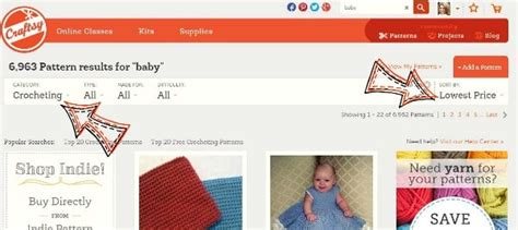 How To Narrow Search On Free Baby Crochet Patterns On Craftsy Cre8tion Crochet