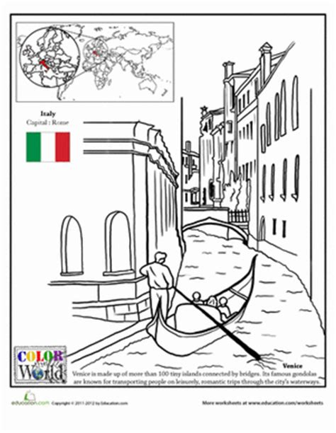 coloring pages italy color the world venice worksheet education com