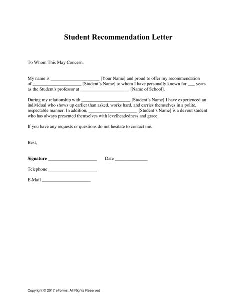 Recommendation Letter For Student In free student recommendation letter template with sles
