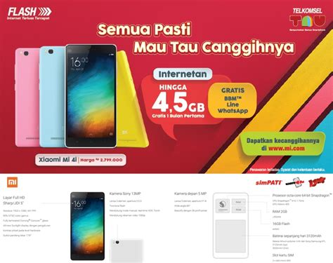 Paket Bundling paket bundling telkomsel xiaomi mi 4i gratis kuota 4 5gb