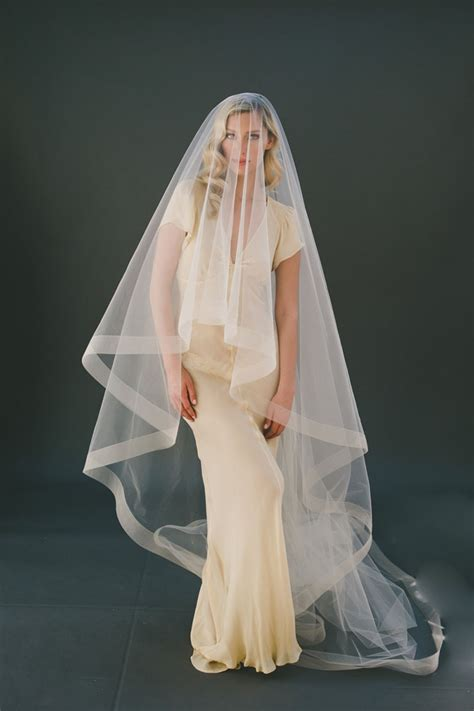 Handmade Veil - chagne handmade cathedral length veil two tier drop