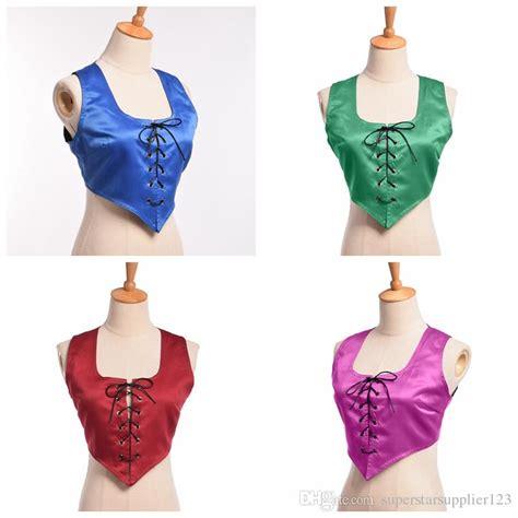 2019 reversible lace up corset vest vintage pirate wench bodice costume dress up