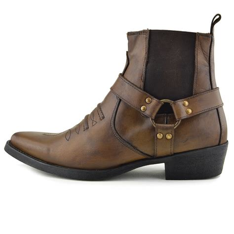 mens cowboy boots pointed toe mens leather cowboy biker ankle boots pointed toe western