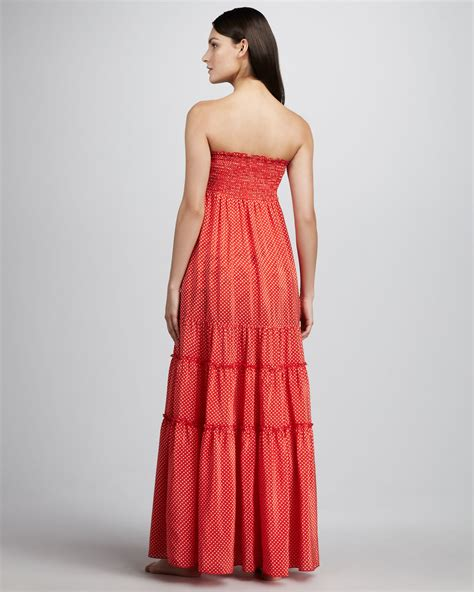 Denim Dress Baju Dress Maxi Dress Simply Polka 1 lyst couture polkadot smocked maxi dress in
