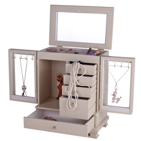 jewelry organizer armoire large wooden jewelry box armoire cabinet makeup organizer