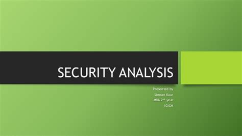 Security Analysis And Portfolio Management Ppt For Mba by Security Analysis
