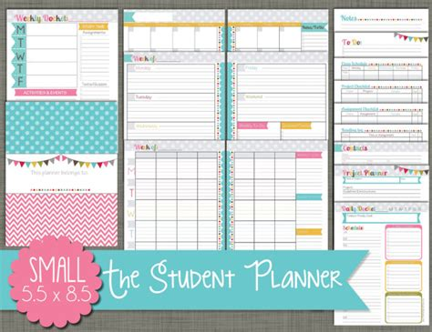 printable monthly student planner student planner printable set sized small 5 5 x