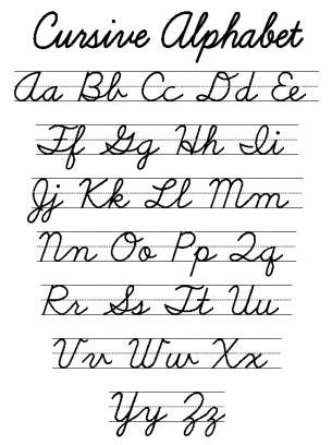 printable cursive letters free cursive alphabet worksheet