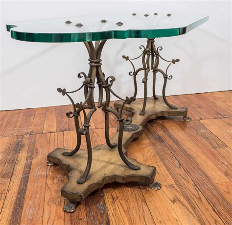 midcentury sculptural gilt wrought iron and wood coffee