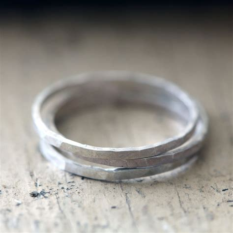hammered stacking rings sterling silver praxis jewelry