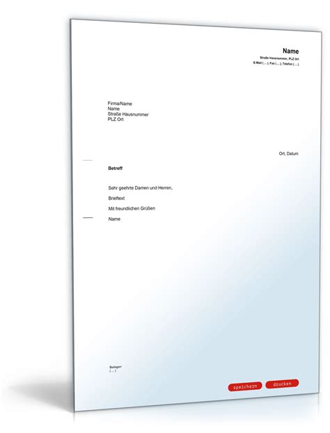 Vorlagen Musterbrief allgemeiner musterbrief vorlage zum