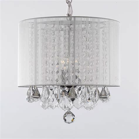 G7 White 604 3 Gallery Chandeliers With Shades Crystal Gallery Chandelier