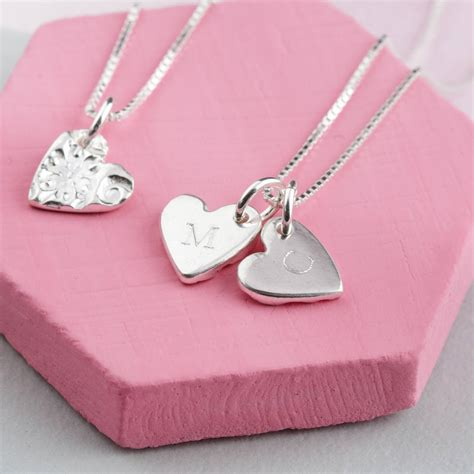 Personalised Handmade Jewellery - personalised handmade engraved silver hearts necklace by