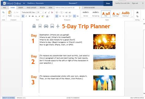 day planner template word 2010 trip planner template for word online