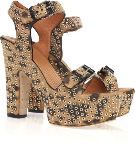 givenchy studded sandals givenchy studded leopard print suede sandals in animal