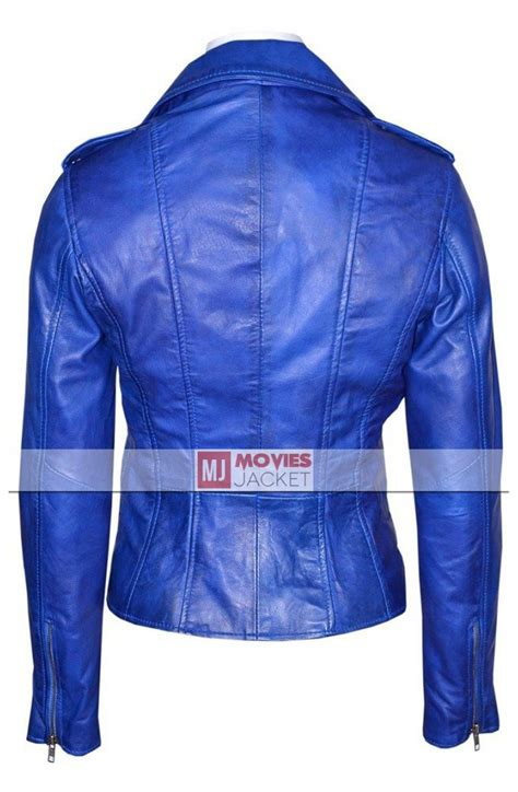 blue motorcycle jacket blue leather jacket womens jacket to