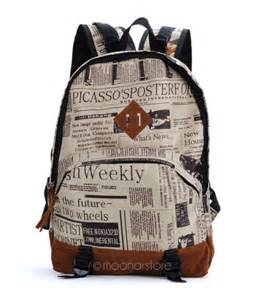 Newspaper Design Print Backpack unisex newspaper print canvas backpack school