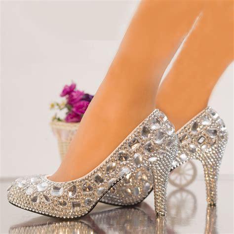 high heels with diamonds silver rhinestone wedding shoes bridal