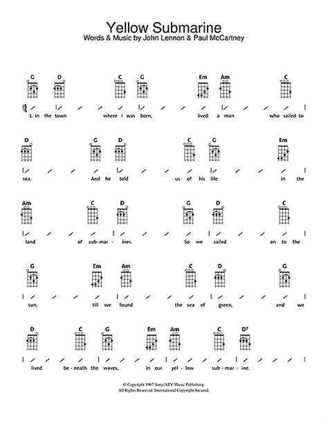 Strumming Pattern For Yellow Submarine | yellow submarine partition par the beatles ukulele with