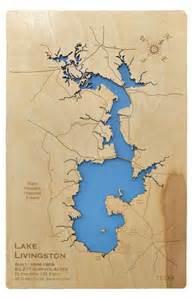 map of lake livingston wood laser cut map of lake livingston engraved map