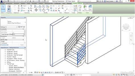 revit handrail tutorial 29 adding extensions to railing revit youtube
