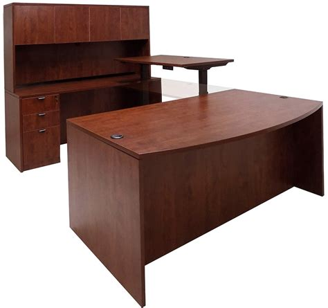 electric adjustable desk electric lift adjustable height cherry u desk w hutch