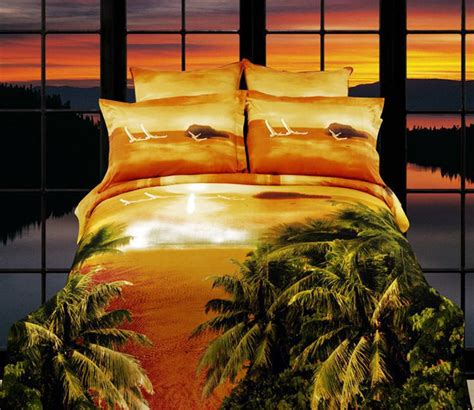 sunset bedding 3d sunset beach palm tree bedding sets queen size duvet