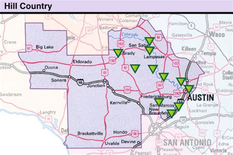 hill country of texas map hill country texas