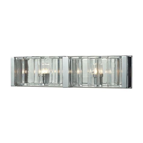 Glass Vanity Light Titan Lighting Corrugated Glass 2 Light Polished Chrome Vanity Light Tn 11496 The Home Depot