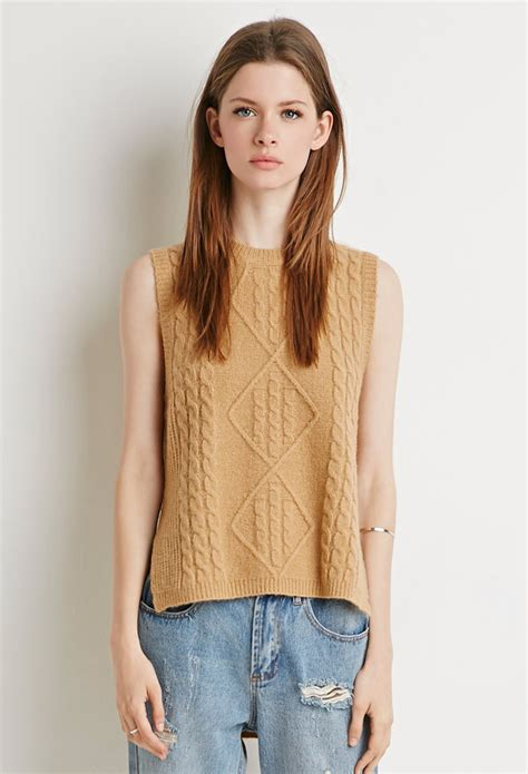 forever 21 cable knit sweater forever 21 cable knit sweater vest in beige camel lyst