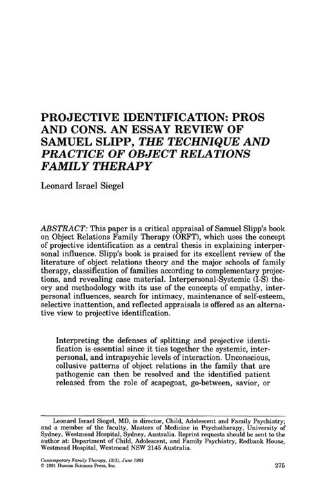 Pro Con Essay by Projective Identification Pros And Cons An Essay Review Of Samuel Slipp The Technique And