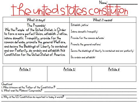 sections of constitution teaching the constitution fifth grade social studies