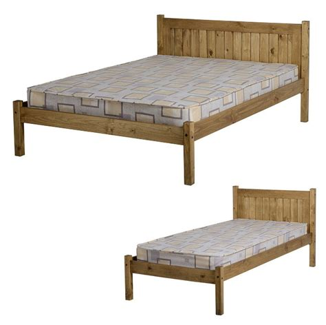 Pine Bed Frame Single 3ft Single 4ft 4ft6 Bed Frame Distressed Waxed Pine Home Bedroom Ebay