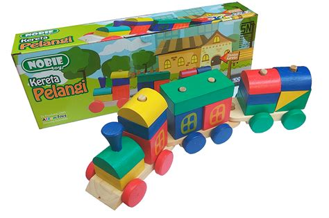 Maze Kepala Hewan nobie kereta pelangi mainan kayu